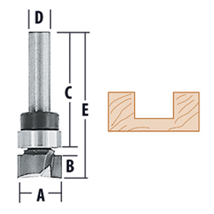 Top Bearing Straight - 2 Flute Router Bits