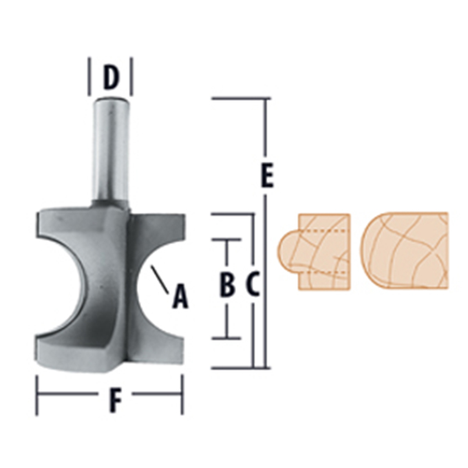 Bull Nose - 2 Flute Router Bits