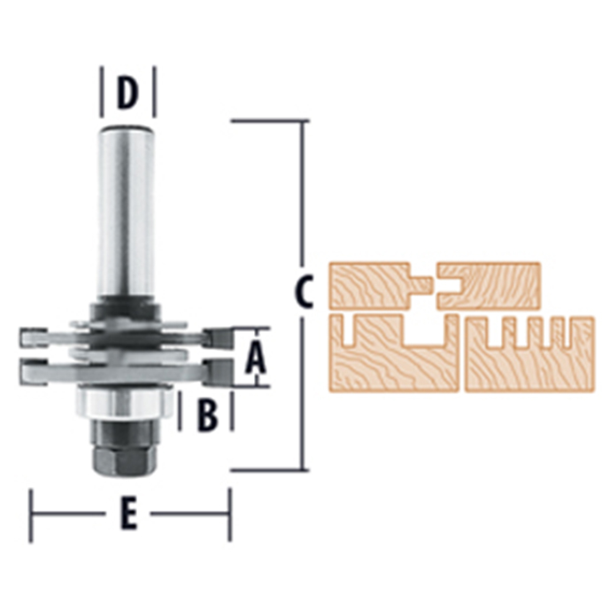 Quadraset 2-Wing Adjustable Slotting Router Bits