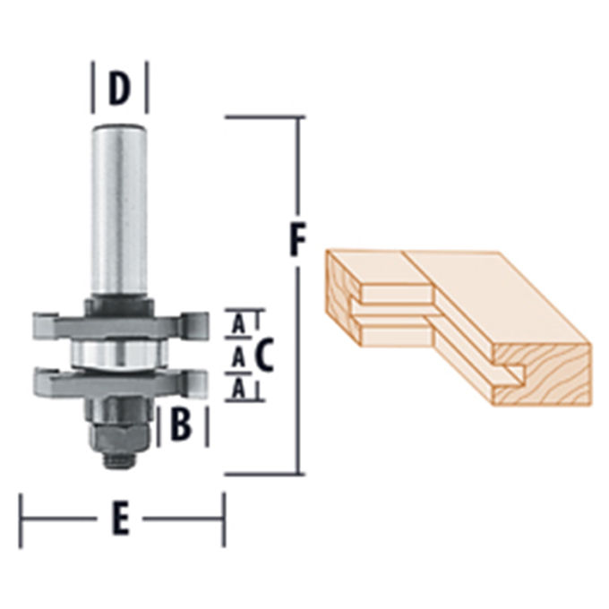 Reversible Tongue & Groove Assembly - 2 Wing Router Bits