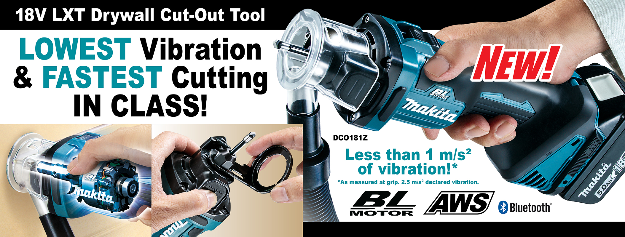 Cordless Drywall Cut Out Tool with Brushless Motor & AWS